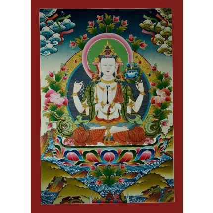 """31""""x22.25"""" Chenrezig Thangka Painting"""