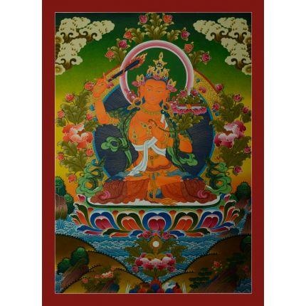 "31""x22.5"" Manjushiri Thangka Painting"