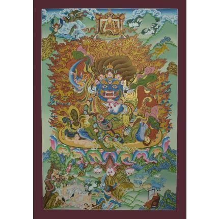 "32.5""x22.75"" Bernagchen Mahakala Thangka Painting"