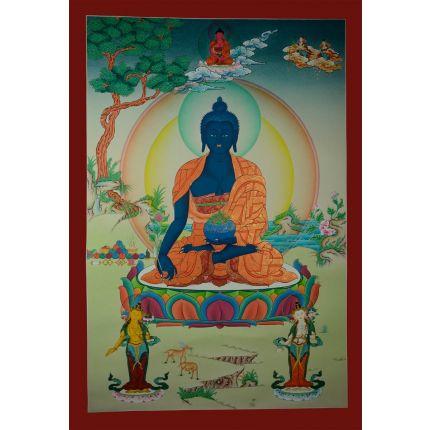 "32.5""x22.5"" Medicine Buddha Thangka Painting"