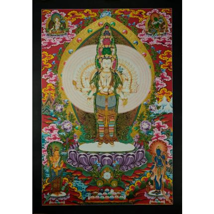 "32.75""x23"" Avalokiteshvara Thankga Painting"