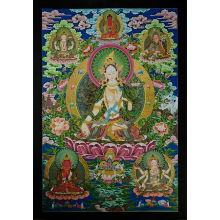 "32.75""x23""  White Tara Thangka Painting"