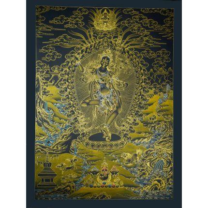 "32.5""x24.5"" Black and Gold Vajravarahi  Thangka Painting"