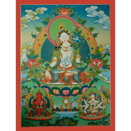 "32.5""x24.5""  White Tara Thangka Painting"
