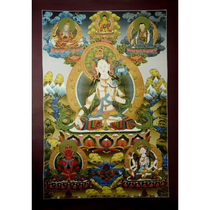 "33.5""x23.5""  White Tara Thangka Painting"