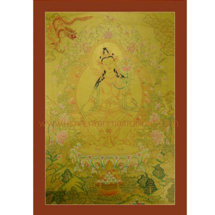 """Gold Maitreya Buddha Thanka - 33.50""""x24"""""""