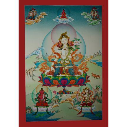 "33""x23"" White Tara Thangka Painting"