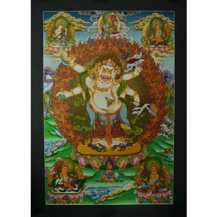 "33.5""x23.5"" White Mahakala Thangka Painting"