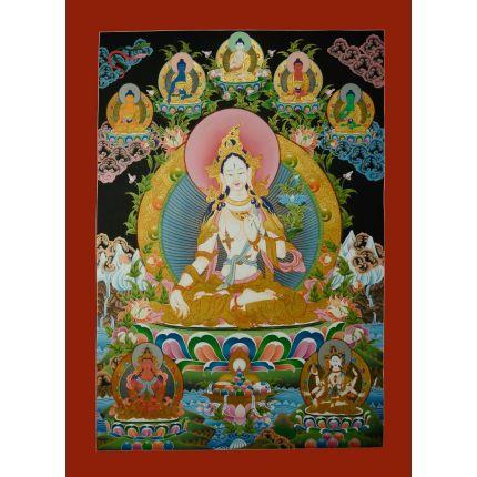 "33""x23.75"" White Tara Thangka Painting"