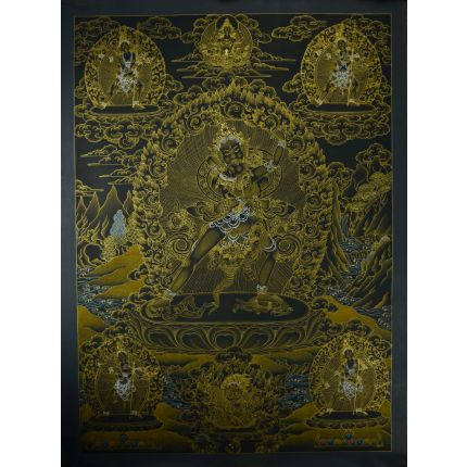 "32.5""X24.5"" Black and Gold Kalachakra with Consort Thankga Painting"