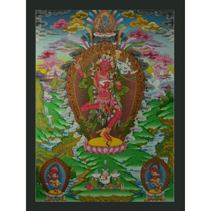 "33""x24.5"" Vajravarahi or Dorje Phagmo Thangka Painting"