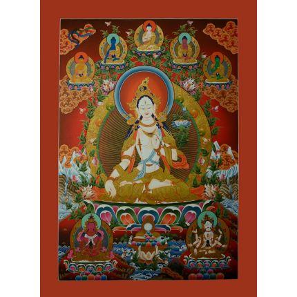 "34""x24""  White Tara Thangka Painting"