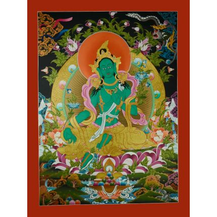 "34.75""X 26.5"" Green Tara Thanka Painting"