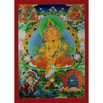 "37.5""x27"" Yellow Jambhala Thankga Painting"