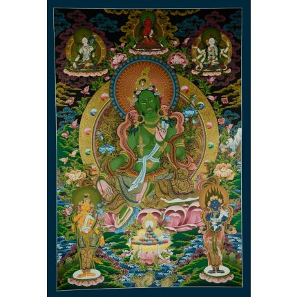 "42""x28.75"" Green Tara Thangka Painting"