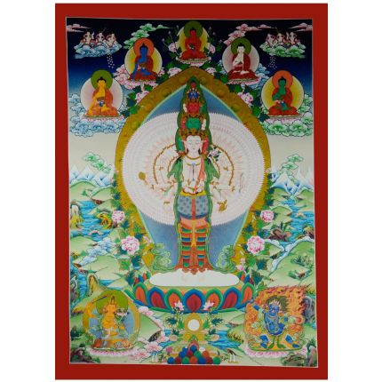 "38.75""x28.75"" Avalokiteshvara Thankga Painting"