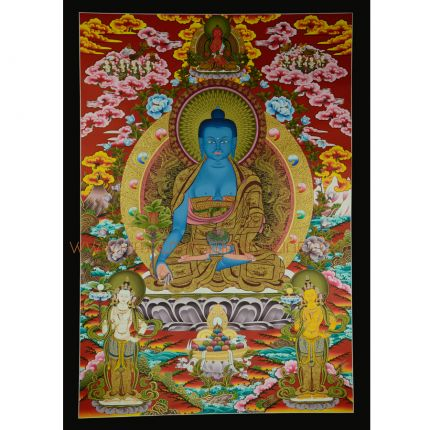 "Traditional Medicine Buddha Thangka Painting - 42.5""x30"""