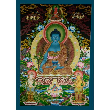 "42.75""x30"" Medicine Buddha Thangka Painting"