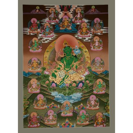 "42.5""x30.5""  21 Tara Thangka Painting"