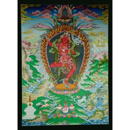 "42""x31"" Vajravarahi or Dorje Phagmo Thangka Painting"
