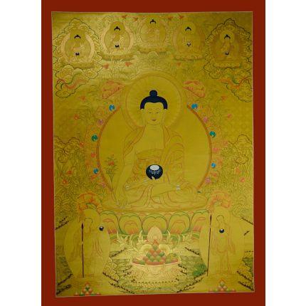 "43.5""x32.5"" Gold Medicine Buddha Thangka"