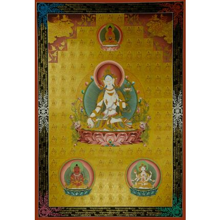 "44""x32.5""  108  White Tara Thangka Painting"
