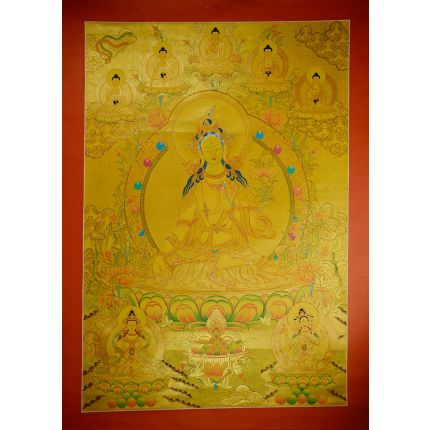 "45.5"" x33""   Gold White Tara Thangka Painting"