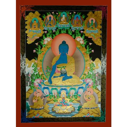 "46""x35"" Medicine Buddha Thangka Painting"