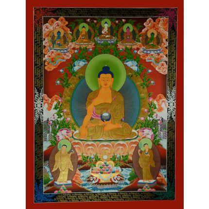 """46.5""""x35.25"""" Shakyamuni Buddha Thangka Painting"""