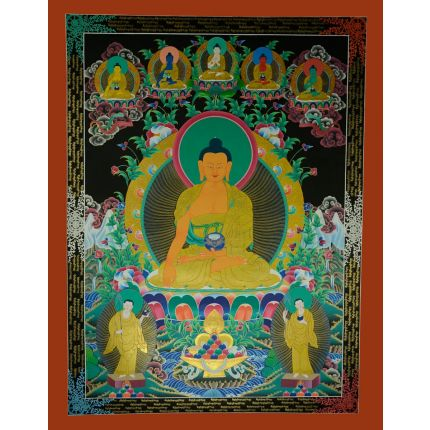 """46.5""""x36"""" Shakyamuni Buddha Thangka Painting"""