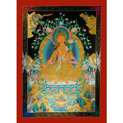 """48""""x35"""" Maitreya Buddha Thangka Painting"""
