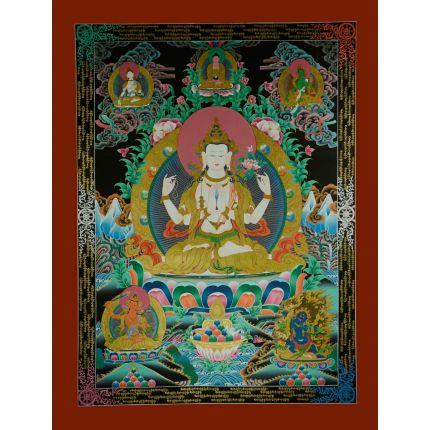 """48""""x36.5"""" Chenrezig Thangka Painting"""