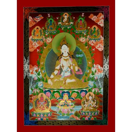 "48.5""x36"" White Tara Thangka Painting"