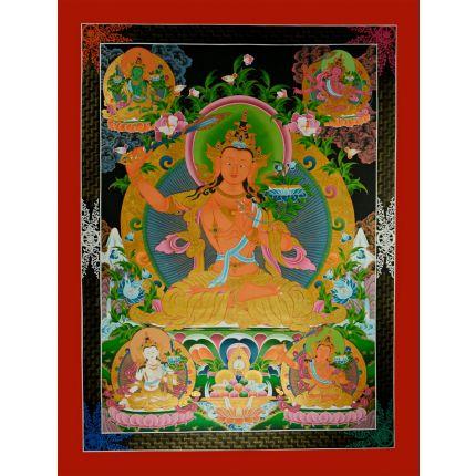 """48""""x37"""" Manjushiri Thankga Painting"""