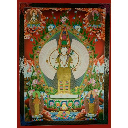 "53.5""x 40"" 1000 Armed Avalokiteshvara Thankga Painting"