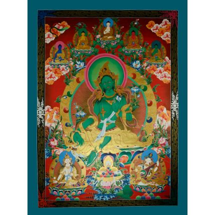 "56""x41"" Green Tara Thangka Painting"
