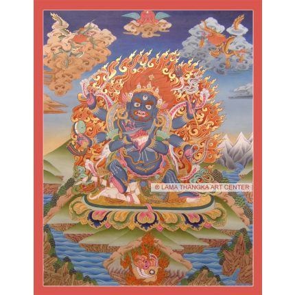 "25.5"" x 20"" Black Mahakala Thangka Painting"