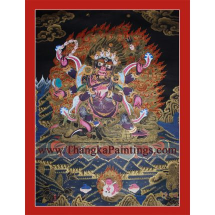 "28"" x 21.5"" Black Mahakala Thangka Painting"