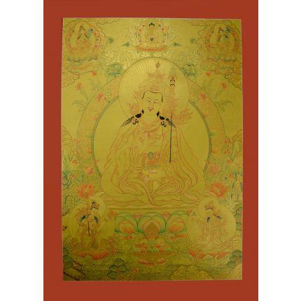 "Gold Guru Padmasambhava Thangka - 33.5""x24.75"""