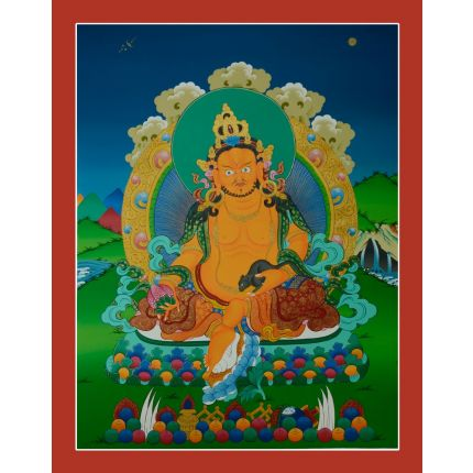 "27.5""x21.5""Yellow Jambhala Thankga Painting"