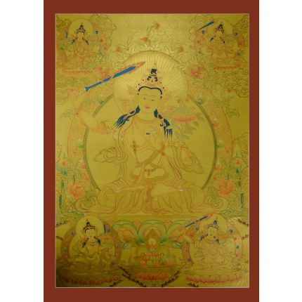 "Gold Manjushiri Thanka Painting - 34.5""x25"""