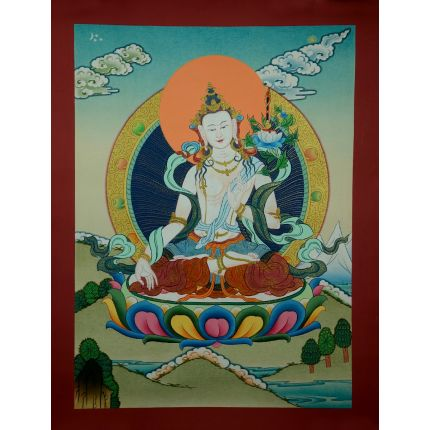 "17""x13.25"" White Manjushri  Thangka Painting"