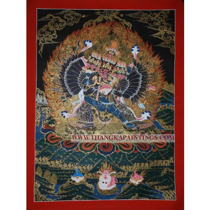 "29.5"" x 22.5"" Yamantaka Thangka Painting"